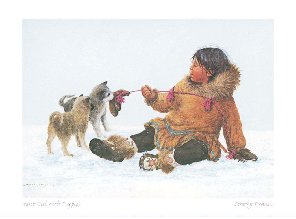 Inuit Girl with Puppies
