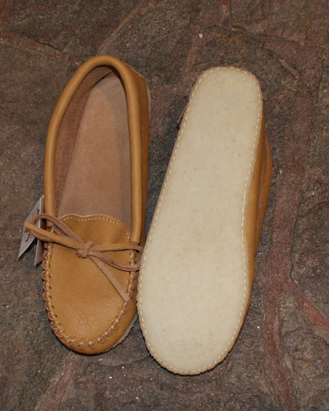 Ladies Rubber Soled Moose Hide Moccasins