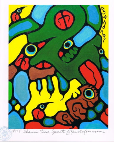 Shaman Faces Spirits Limited Edition Print by Norval Morrisseau