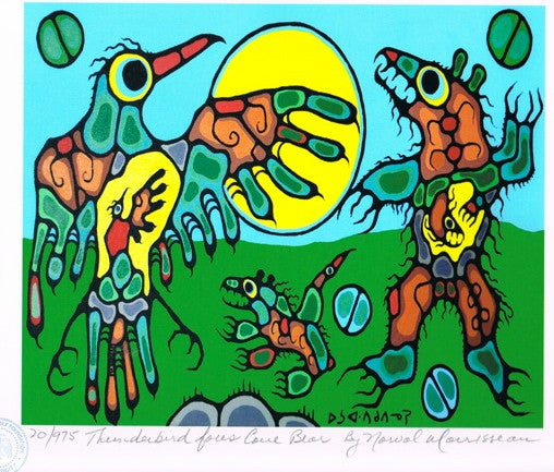 Thunderbird Faces Cave Bear Limited Edition Print by Norval Morrisseau