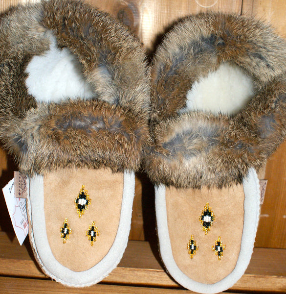 Sheepskin Slippers with Rabbit Fur Trim-Natural