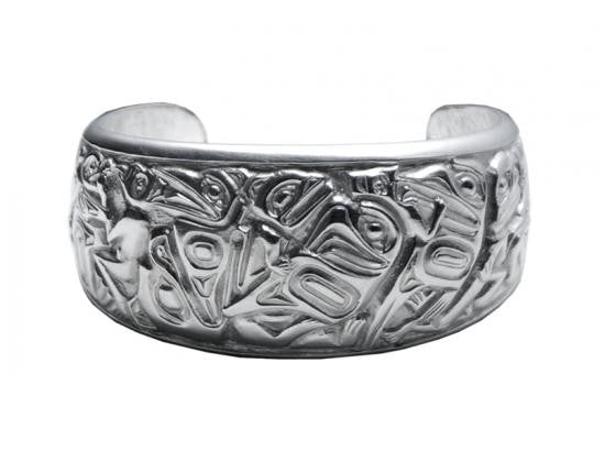 Silver-Pewter Panel Pipe Bracelet