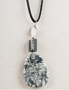Pinolith and Black Tourmaline Medicine Stone Necklace