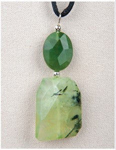 Prehnite and Jade Medicine Stone Necklace