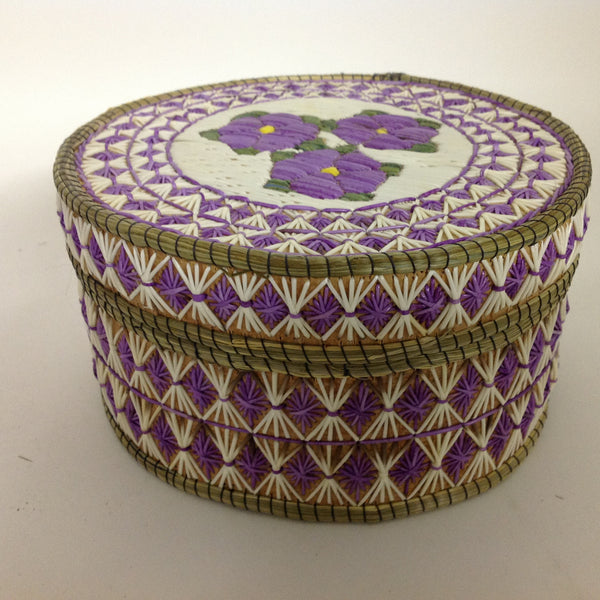 Purple Flowers Quill Box