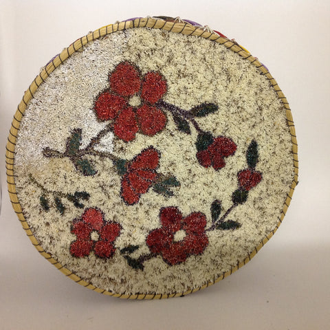 Red Flowers Tufted Quill Box