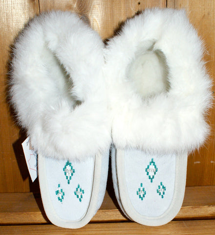 Sheepskin Slippers with Rabbit Fur Trim-White