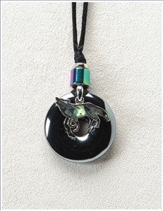 Wolf on Hematite Medicine Stone Necklace