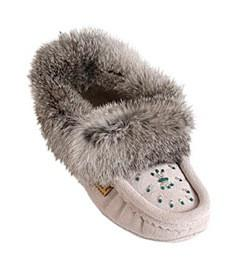 Ice Grey Ladies Classic Fur Moccasins