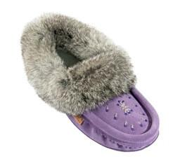 Purple Ladies Classic Fur Moccasins