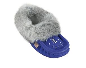 Royal Blue Ladies Classic Fur Moccasins