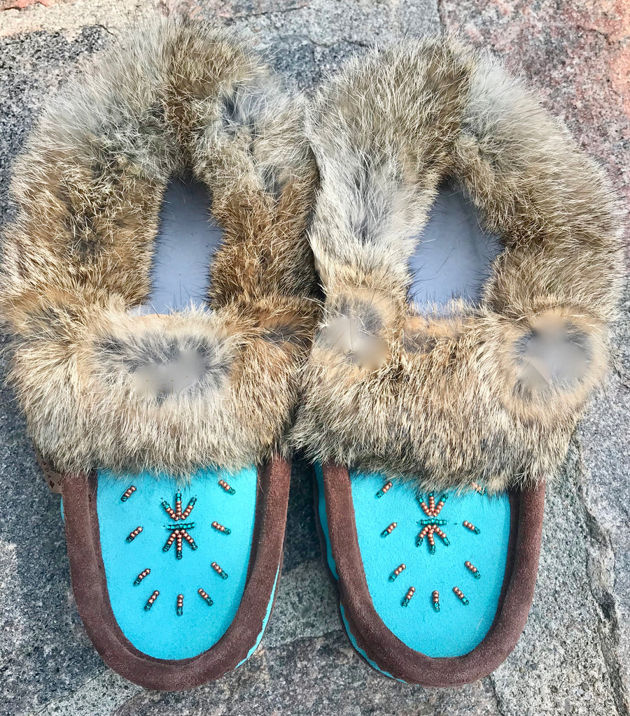 2-Tone Classic Fur Moccasins-Chocolate/Turquoise