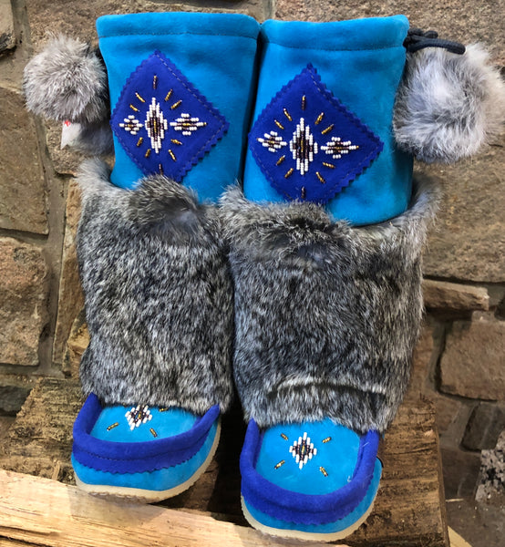 Aqua/Royal Blue Mukluks