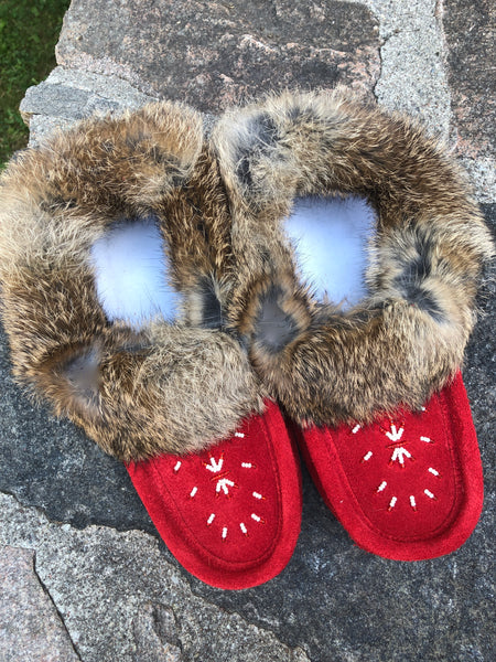 Classic Fur Moccasins- Red