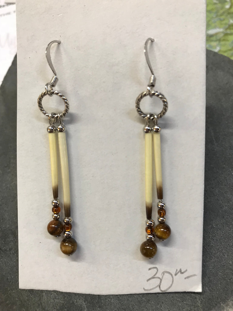 Porcupine Quill and Tiger's Eye Earrings