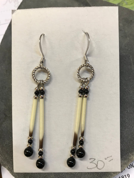 Porcupine Quill Earrings and Black Onyx