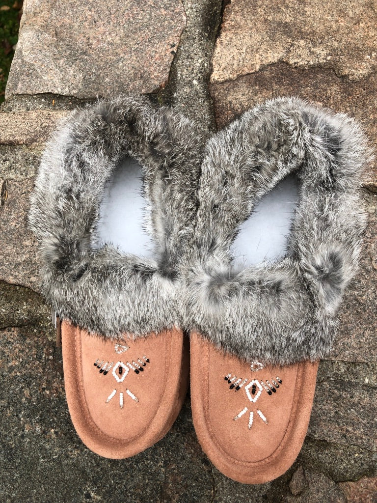 Classic Fur Moccasin-Cafe