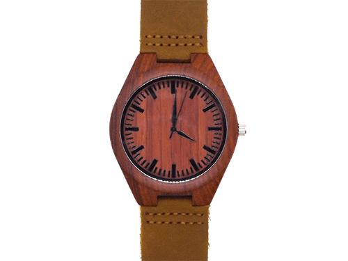 Orologio in legno e pelle rossa • Okulars® Leather Watch
