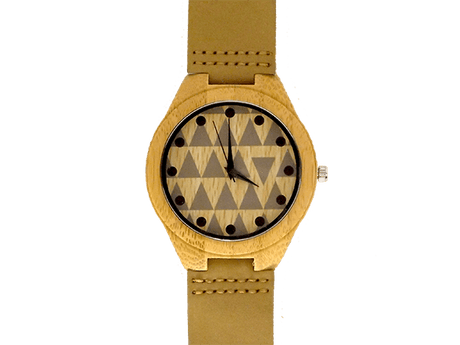 Orologio in legno e pelle beige • Okulars® Leather Watch