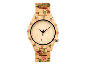 Orologio in legno • Okulars® Wood Watch Bloom Fiori