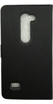 LG Leon Wallet Case Premium BLACK