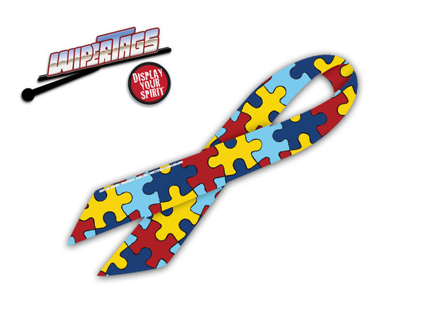 Autism Awareness Ribbon WiperTag