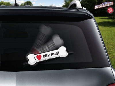 I Love My Pug Bone WiperTag