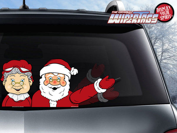 Santa & Mrs Claus Waving WiperTag with Decals