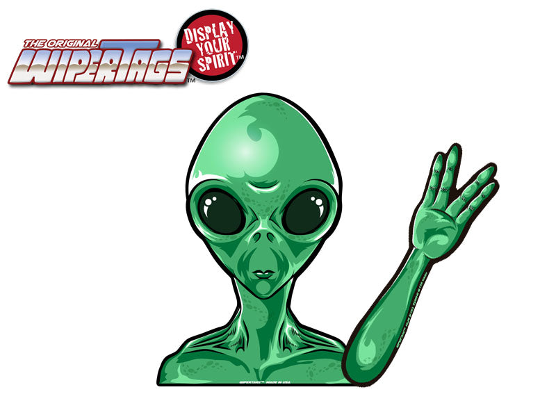 Alien Martian Waving Decal Wipertag For Rear Windshield