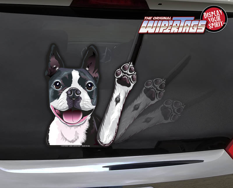 Boston Terrier Waving Dog WiperTags