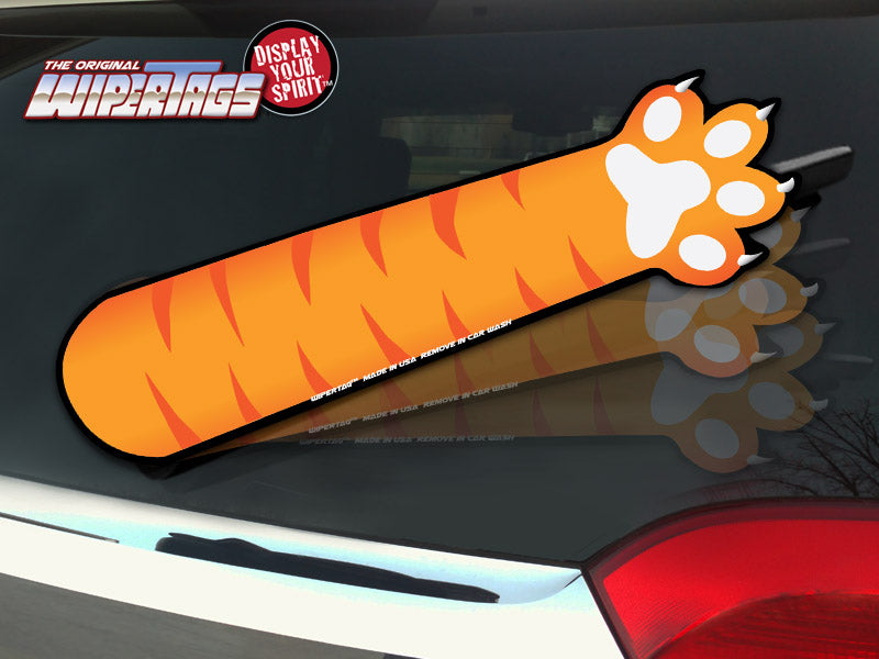 Orange Paw Waving WiperTags