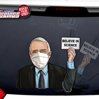 Dr Fauci Believe in Science Waving WiperTags