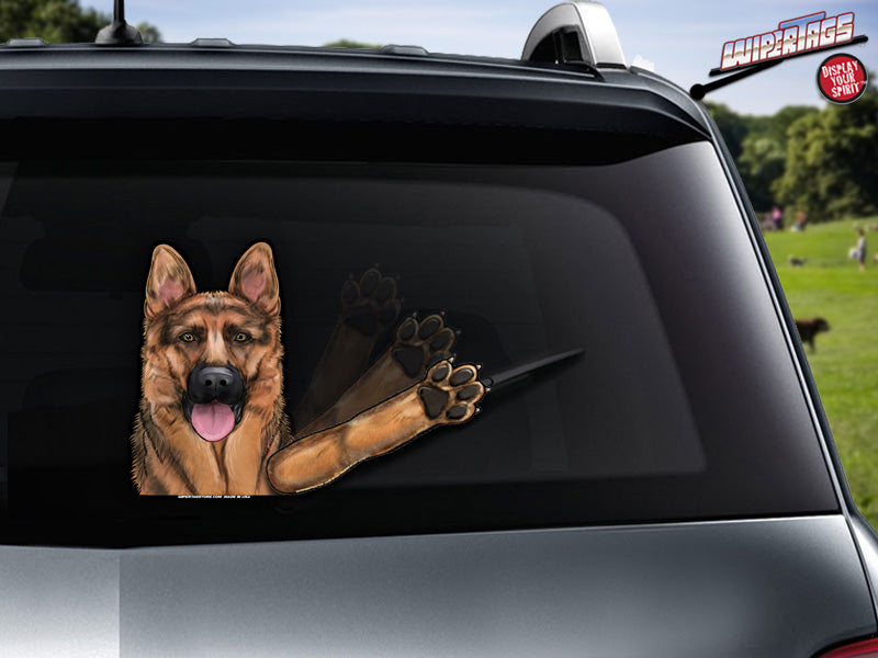 4334c2bb Kaiser the German Shepherd WiperTags decal attach to rear wiper ...