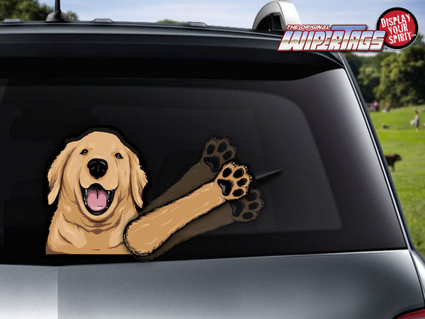 Bailey Golden Retriever Waving WiperTags