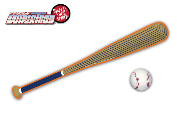 Navy & Orange Baseball Bat WiperTags with Ball Decal
