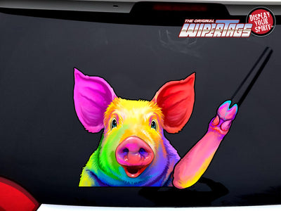 Beautiful Rainbow Pig Waving WiperTags