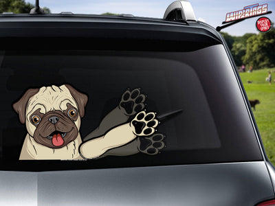 Pugly Rescue Dog Waving WiperTags