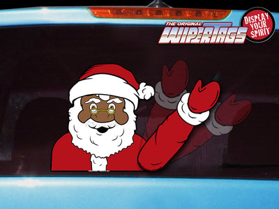 ORIGINAL Black Santa Claus Waving WiperTag with Decal