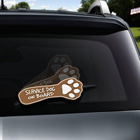 Service Dog on Board Paw WiperTag attach to rear wiper blade