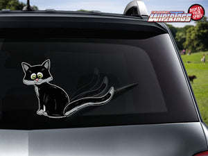 Cat Wagging Tail-Black WiperTags