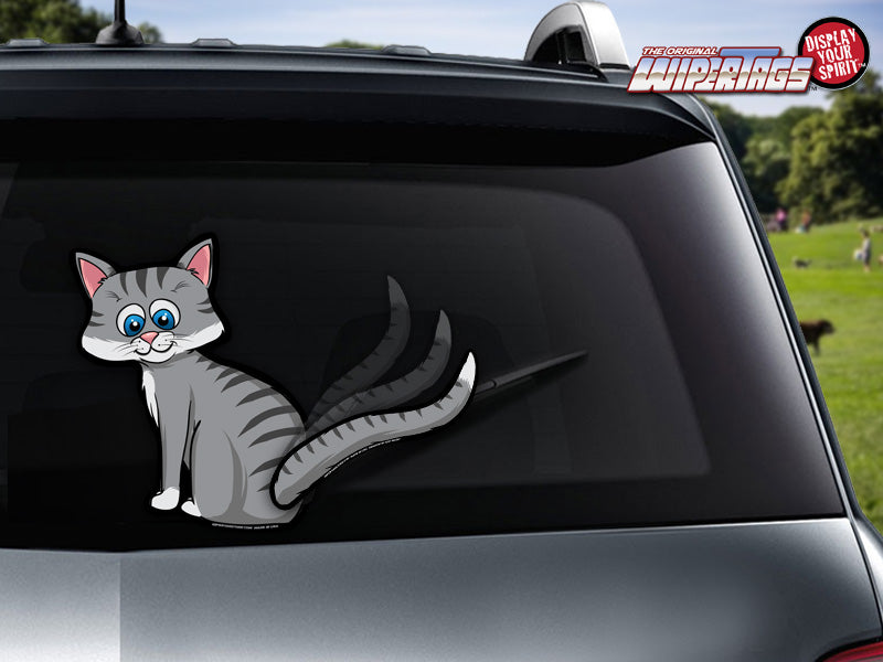 Cat Wagging Tail-Grey WiperTags