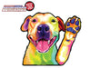Pitbull Watercolor Waving Dog WiperTags