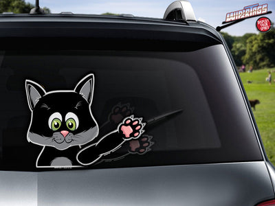 Mystic black waving kitten WiperTags attach to rear wipers