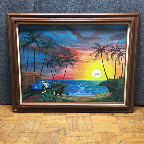 Island Sunset Painting In Wood Frame by Paul Forney (#6869)