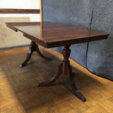 Antique Double Pedestal Dining Table w/ Leaf