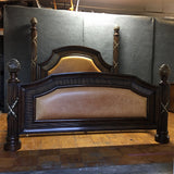 Philippe Langdon Four-Post Leather & Wood Cal King Bed (#6773)