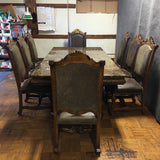 Traditional 9 Piece Wood & Marble Dining Table Set (#6926)