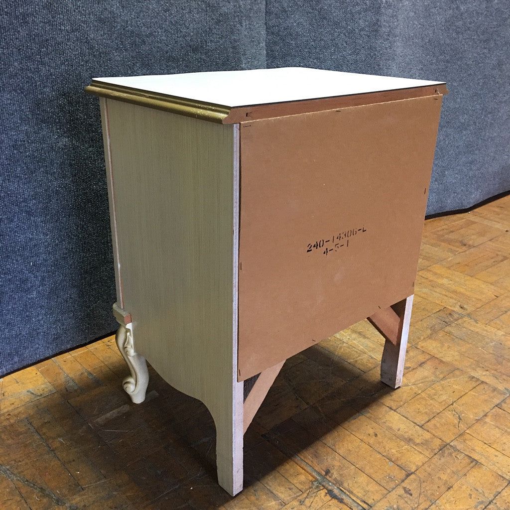 Antique Country White & Gold Three-Drawer Nightstand (#6969)