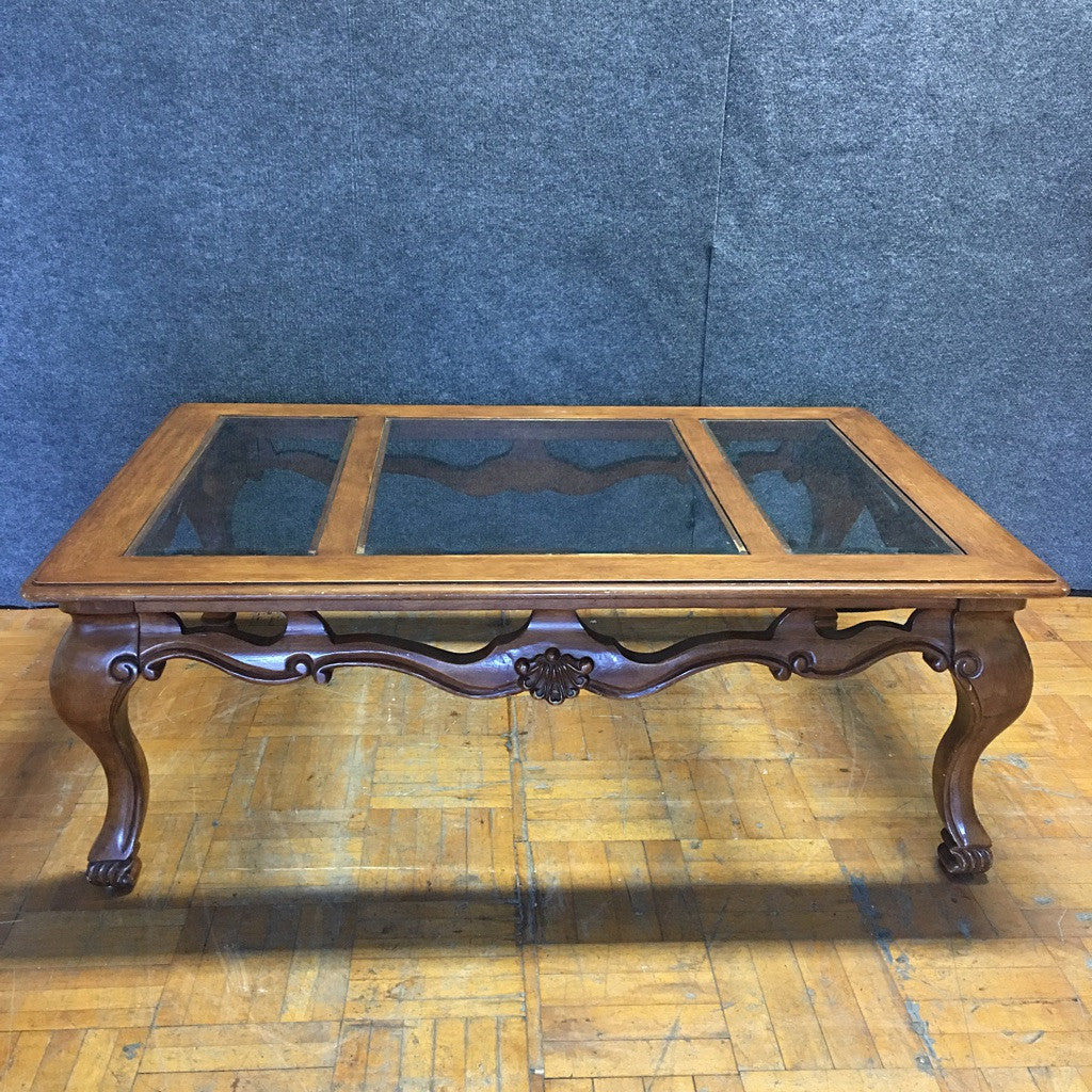 Carved Wooden Coffee Table w/ Glass Top (#6270) - The Things And Stuff - 2