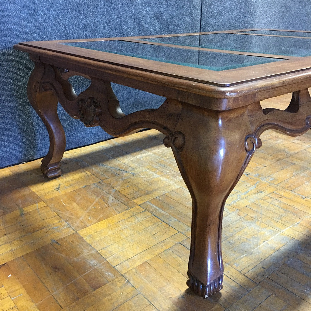 Carved Wooden Coffee Table w/ Glass Top (#6270) - The Things And Stuff - 3